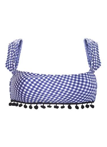 Loya Kapsız Straplez Tek Üst Bikini Mavi